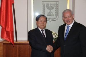 Prime Minister Benjamin Netanyahu with Chinese culture minister Cai Wu in Jerusalem.